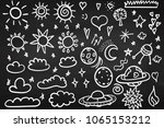 set of clouds. chalk board.... | Shutterstock .eps vector #1065153212
