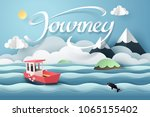 paper art of red boat and... | Shutterstock .eps vector #1065155402