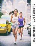 city runners   urban new... | Shutterstock . vector #1065158942