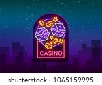 casino is a neon sign. neon... | Shutterstock .eps vector #1065159995