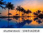 sunrise at the beach in hoi an... | Shutterstock . vector #1065162818