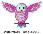 Cute Pink And Turquoise Owl...