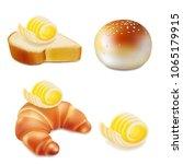 butter or margarine on slice of ... | Shutterstock .eps vector #1065179915