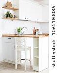 modern white kitchen in... | Shutterstock . vector #1065180086