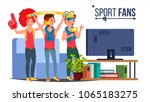 sport fans group vector. fan... | Shutterstock .eps vector #1065183275
