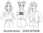 beatiful girls isolated on... | Shutterstock .eps vector #1065187838