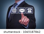 contact us on visual screen | Shutterstock . vector #1065187862