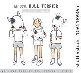 boy and girl holding bull... | Shutterstock .eps vector #1065189365
