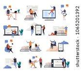 online education flat icons... | Shutterstock .eps vector #1065201392