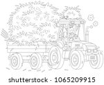 smiling farmer driving his... | Shutterstock .eps vector #1065209915
