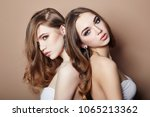 two sexy fashion young blonde... | Shutterstock . vector #1065213362