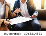 meeting in workplace concept ... | Shutterstock . vector #1065214532