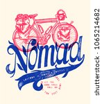 vintage bicycle travel nomad... | Shutterstock .eps vector #1065214682
