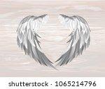 wings. vector illustration on... | Shutterstock .eps vector #1065214796