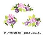 watercolor set of dahlia... | Shutterstock . vector #1065236162