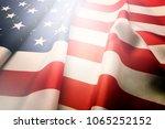 ruffled american flag. patriots ... | Shutterstock . vector #1065252152