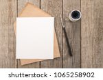envelope  ink pen  inkwell on a ... | Shutterstock . vector #1065258902