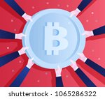 concept of crypto currency.... | Shutterstock .eps vector #1065286322