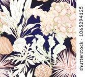 sea world seamless pattern ... | Shutterstock .eps vector #1065294125