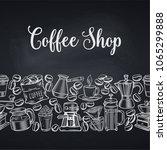 seamless border coffee shop... | Shutterstock .eps vector #1065299888