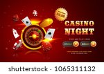 Golden text Casino Night with 3D chip, coins, ace cards, and roulette on sparkling red background. Flyer, poster or banner design with Cryptocurrencies accepted. - stock vector