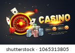 Golden Text Casino With 3d Chi...