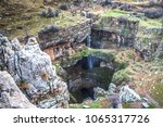 Small photo of Falls in the mountains of Lebanon -Baatara gorge waterfall. The waterfall drops 255 metres into the Baatara Pothole, a cave of Jurassic limestone located on the Lebanon Mountain Trail.