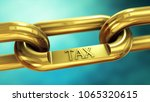 tax symbol on gold chain.... | Shutterstock . vector #1065320615