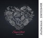vector hand drawnn superfood in ... | Shutterstock .eps vector #1065326438
