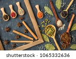 various indian spices in wooden ... | Shutterstock . vector #1065332636