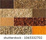 collage of different herbs and... | Shutterstock . vector #1065332702