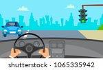hands driving car vector. man... | Shutterstock .eps vector #1065335942