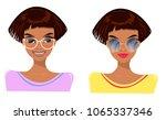 girl in glasses  brunette ... | Shutterstock .eps vector #1065337346