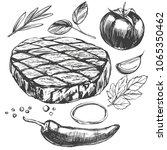 food meat  steak  roast ... | Shutterstock .eps vector #1065350462