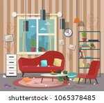 dirty  cluttered  messy living... | Shutterstock .eps vector #1065378485