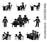 stick figure working man using... | Shutterstock .eps vector #1065381686