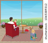 dad sits in the armchair and... | Shutterstock .eps vector #1065389312