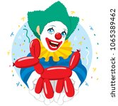 happy smiling clown holding red ... | Shutterstock .eps vector #1065389462