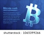 bitcoin sign on dark blue... | Shutterstock .eps vector #1065399266