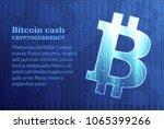 bitcoin sign on dark blue... | Shutterstock .eps vector #1065399266