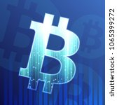 bitcoin sign on dark blue... | Shutterstock .eps vector #1065399272