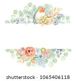horizontal floral banner with... | Shutterstock .eps vector #1065406118
