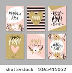 set of cute greeting cards for... | Shutterstock .eps vector #1065415052