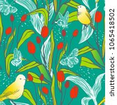 bright spring seamless design... | Shutterstock .eps vector #1065418502