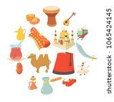 turkey travel symbols icons set.... | Shutterstock .eps vector #1065424145