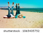 young couple relax having fun... | Shutterstock . vector #1065435752