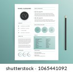 resume   cv template design  ... | Shutterstock .eps vector #1065441092
