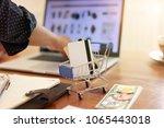 man hands using tablet  laptop... | Shutterstock . vector #1065443018