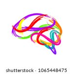 abstract brain made of paint... | Shutterstock .eps vector #1065448475