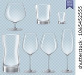 set of transparent glasses... | Shutterstock .eps vector #1065452555